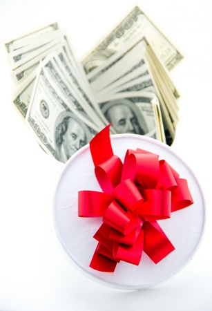 Money and gift box isolated on the white background. Stock Photo - 21949805