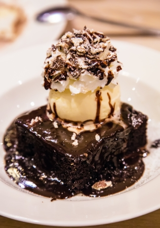 Chocolate dessert with brownie, whipped cream and ice cream.