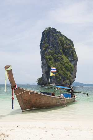Traditional Thai longtail boat on the beach Stock Photo
