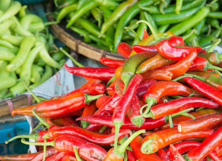 Chili peppers for sale on the market in Thailand