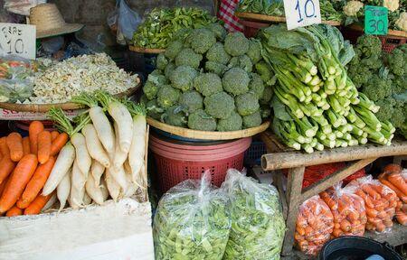 Plenty of vegetables at thai market for sale