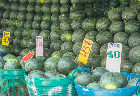 Watermelons on the market for sale in Thailand