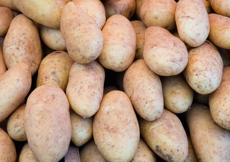 Potatoes on the market for sale background