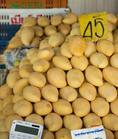 Stall of mangos on thai market for sale