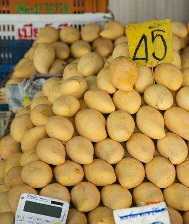Stall of mangos on thai market for sale