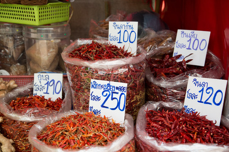 Dried chili on the market for sale in Thailand