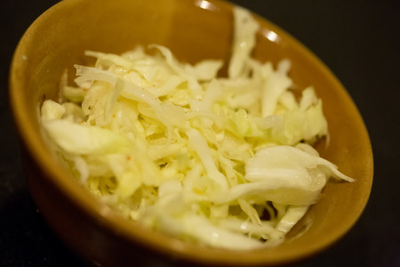 Chinese salad with cabbage, chily and sesame oil