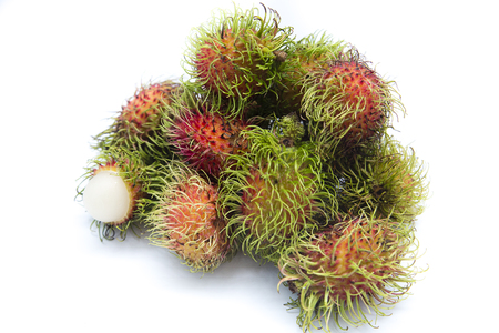 A bunch of rambutan fruits isolated on a white background