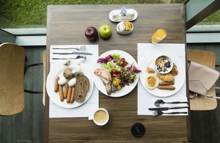 Breakfast for two persons from top angle Banco de Imagens