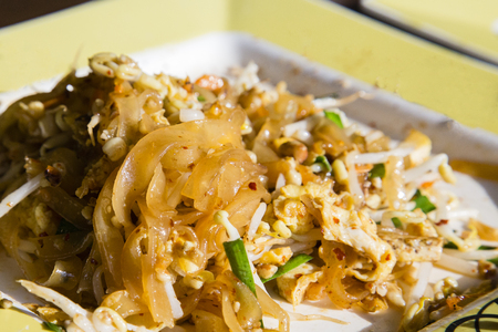Pad Thai - thai fried noodle served on the plate food court