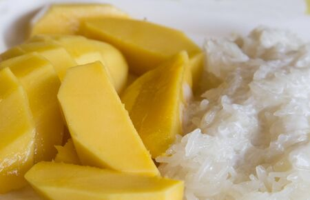 Fresh mango with sweet coconut sticky rice - traditional, thai, dessert