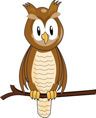 cute owl: funny owl cartoon Illustration
