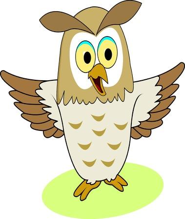 funny owl cartoon Stock Vector - 12542497