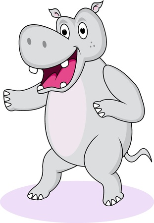 over white: funny hippo cartoon