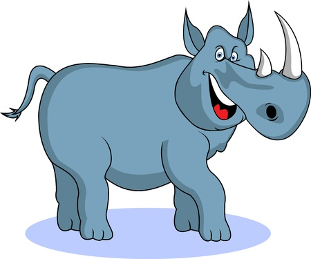 funny rhino cartoon Vector