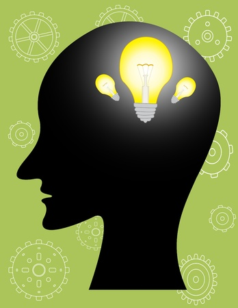 side profile: human thinking Illustration