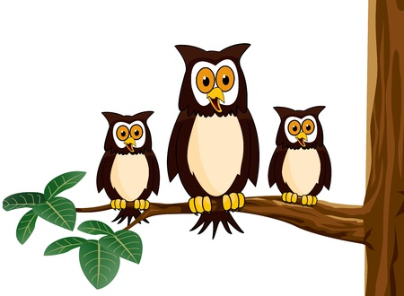 owl family Stock Vector - 12542600