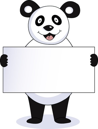 panda with blank sign Stock Vector - 12542593