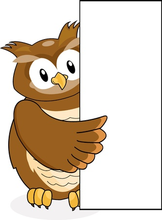 owl with blank sign Stock Vector - 12542591