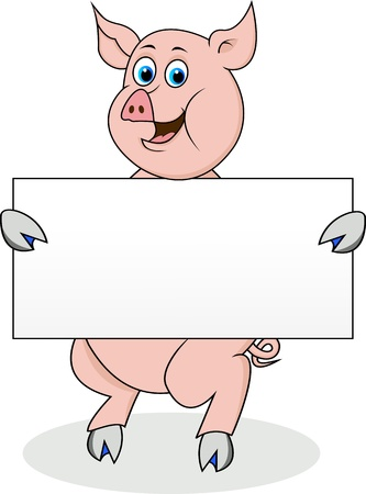 pig with blank sign Stock Vector - 12542606