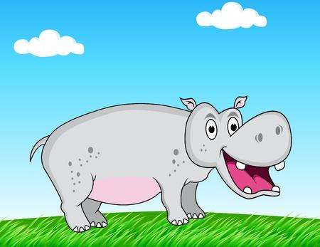 hipopotamo caricatura: hipopótamos en la naturaleza Vectores