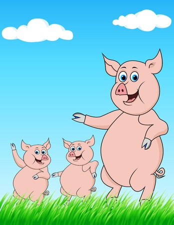 pig family cartoon Vector