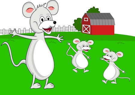 mouse family cartoon Vector
