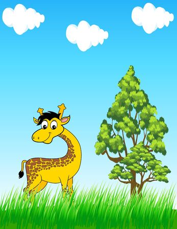 giraffe in the wild Vector