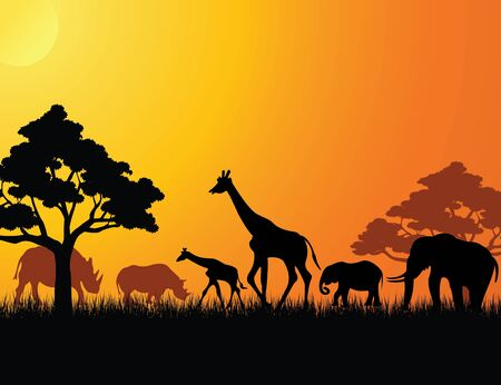 animals together: africa animal silhouette