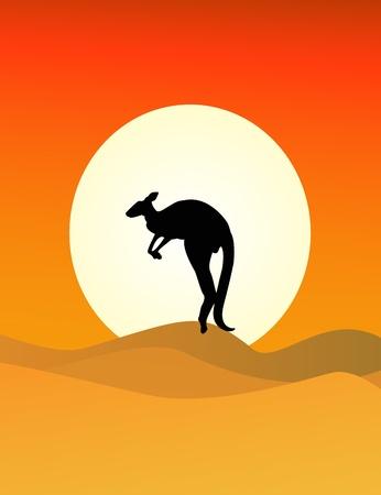 kangaroo in the savanna Vector