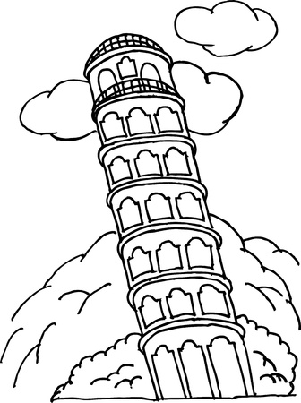 image of pisa tower Vector
