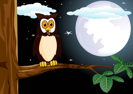 owl with the fullmoon Vector