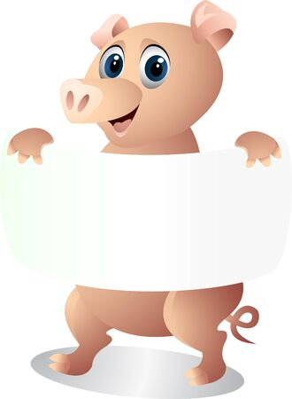 pig with blank sign Vector