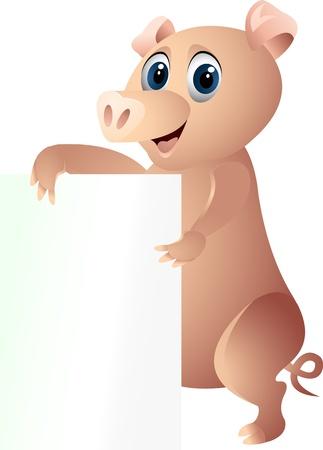 flying pig: pig with blank sign Illustration