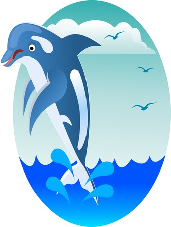 happy jumping dolphin Vector