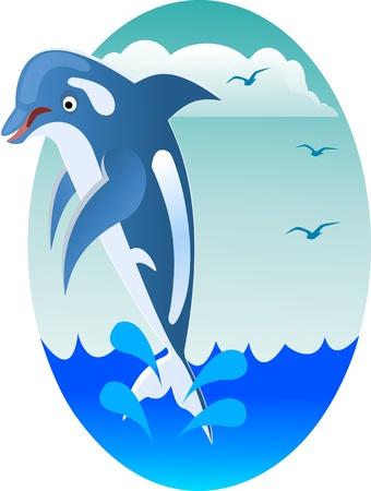 happy jumping dolphin Vector