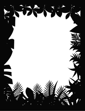 tropical forest silhouette Vector