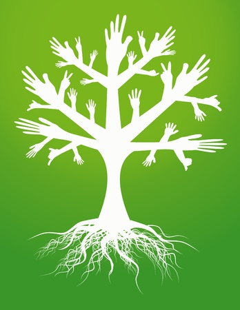 hand tree sign Vector