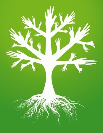 mid life: hand tree sign Illustration