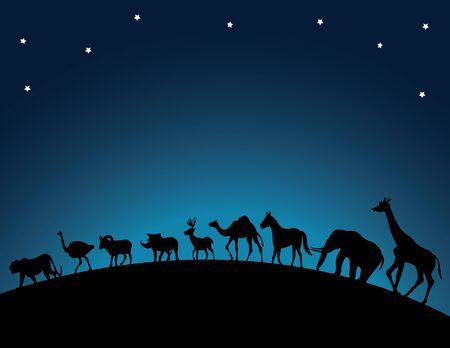 animal walking at night Stock Vector - 12542749