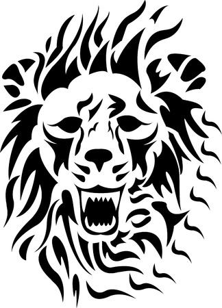 lion silhouette: tribal lion cartoon