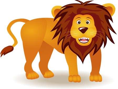 funny lion cartoon Vector
