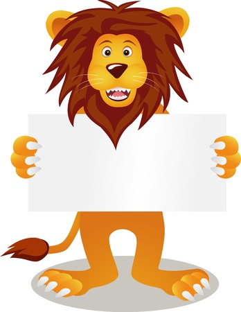 lion with blank sign Vector