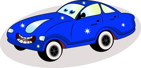 funny blue car Vector