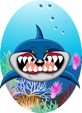 funny shark cartoon Stock Vector - 12542752