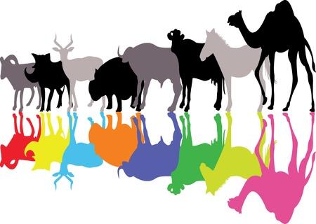 jungle jumping: wild animal silhouette Illustration