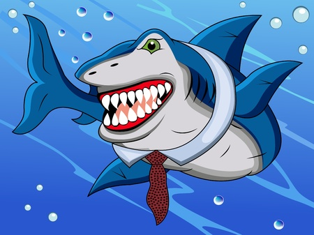 funny shark cartoon Vector