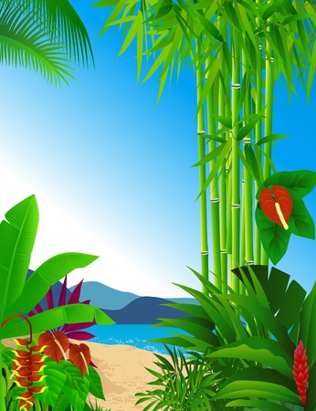 birds of paradise: tropical beach background Illustration
