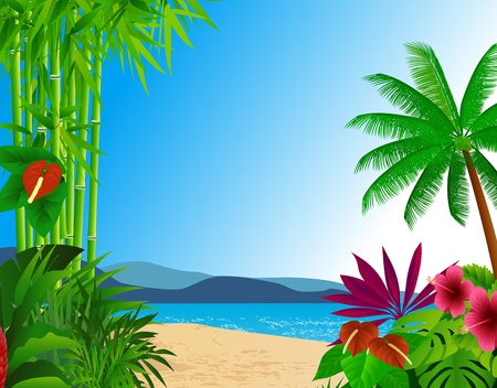 tropical beach background Illustration