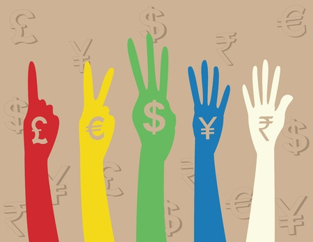foreign currency: hand money sign Illustration